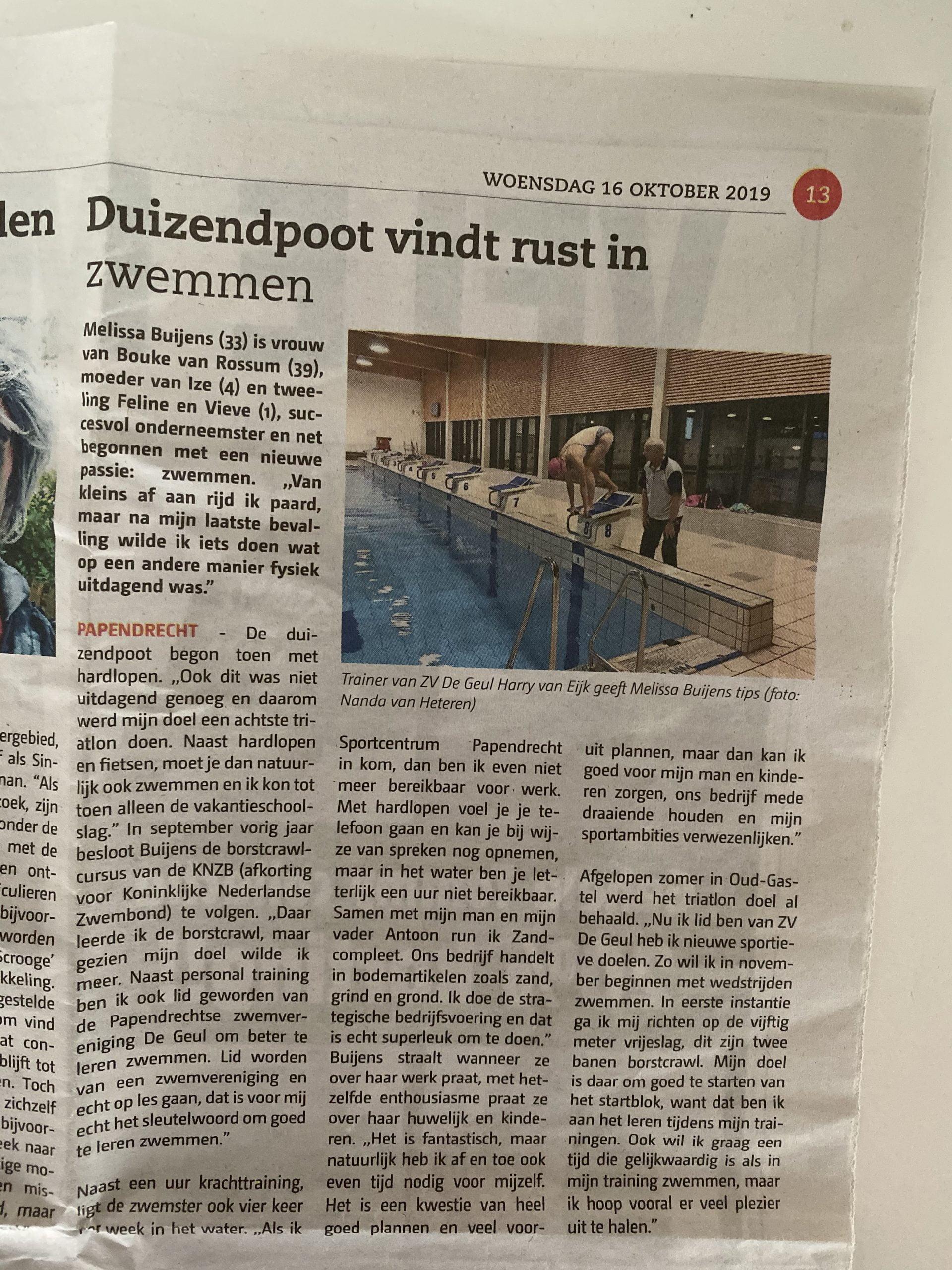 Interview Papendrechts nieuwsblad 1